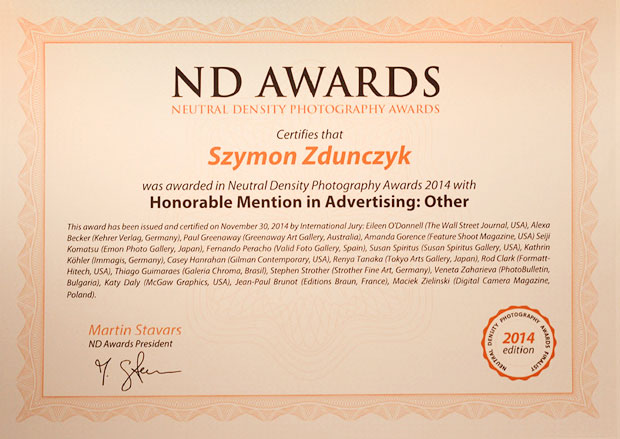 dyplom wyróznienie w konkursie ND Awards