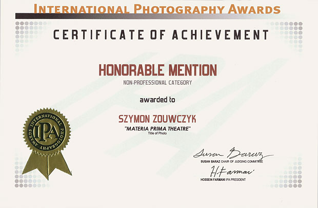 dyplom wyróznienie w konkursie International Photo Awards